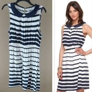 Elle M Blue & White Striped Dress Nautical Collar